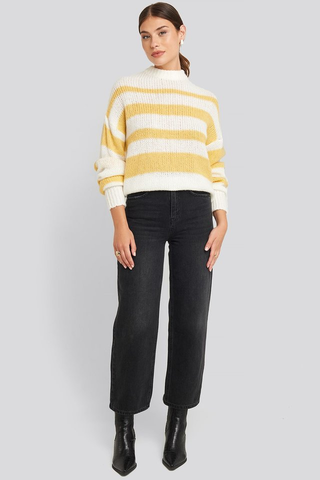 Yellow Striped Round Neck Oversized Knitted Sweater