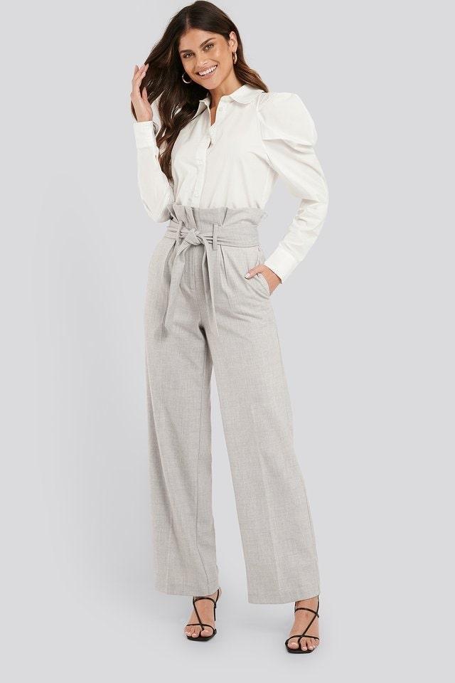 Grey Maxi Paperwaist Suit Pants