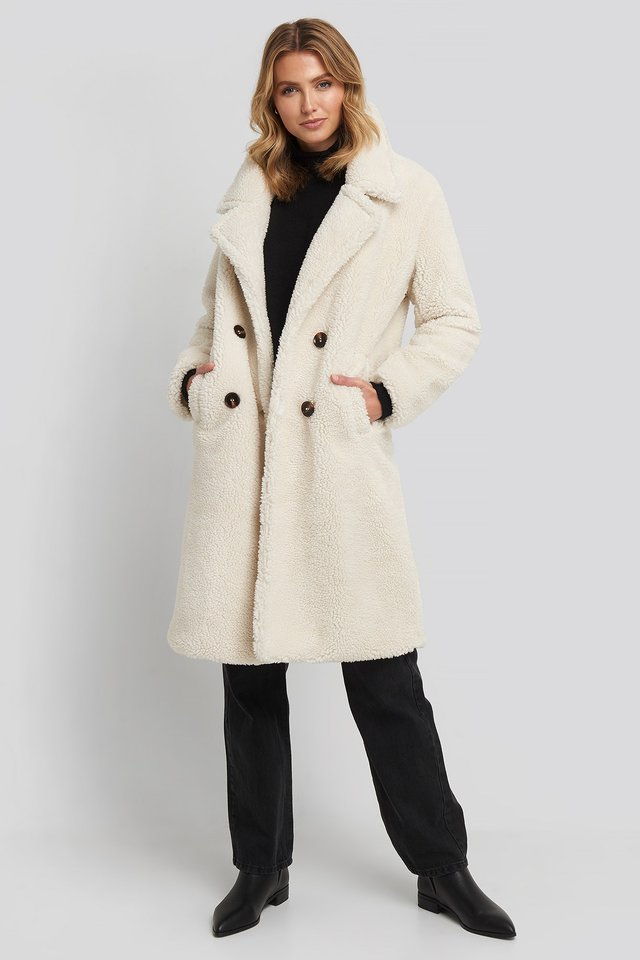 Offwhite Long Teddy Coat
