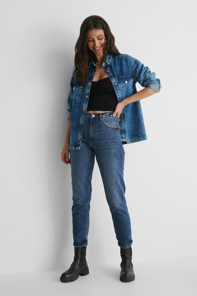 Mango Kendall Top with Denim Shirt and Jeans.