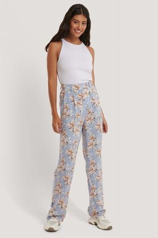 Light Blue Flower Pantalon Fluide Taille Haute