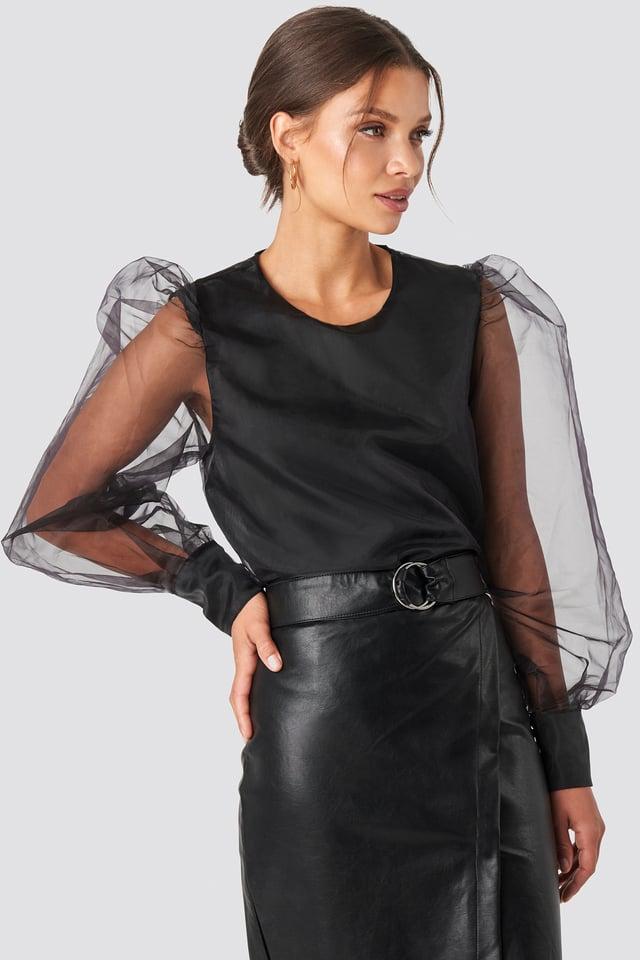 Black Puffy Sleeve Organza Blouse