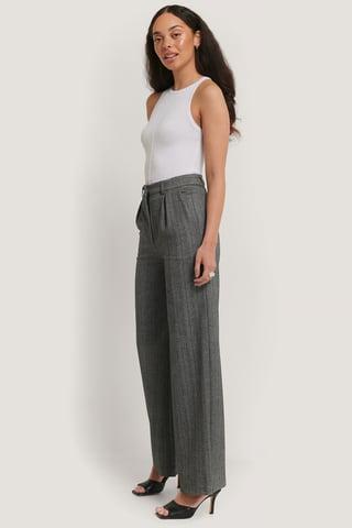 Grey Melange Pantalon Large En Laine Mélangée
