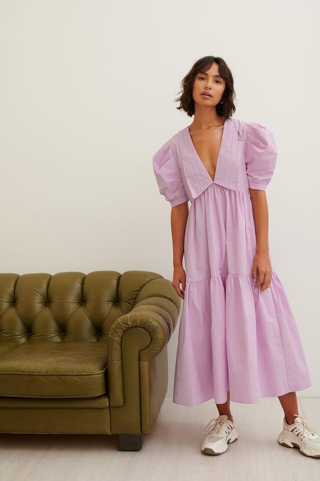 Robe Midi Brodée Pink