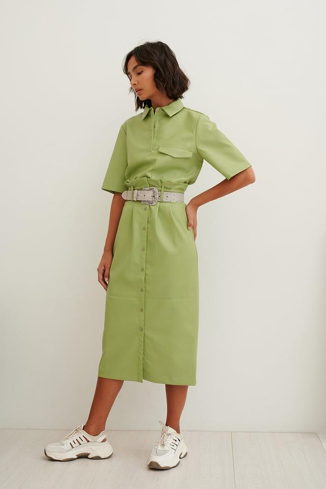 Jupe Mi-Longue Paperbag En Faux Cuir Green