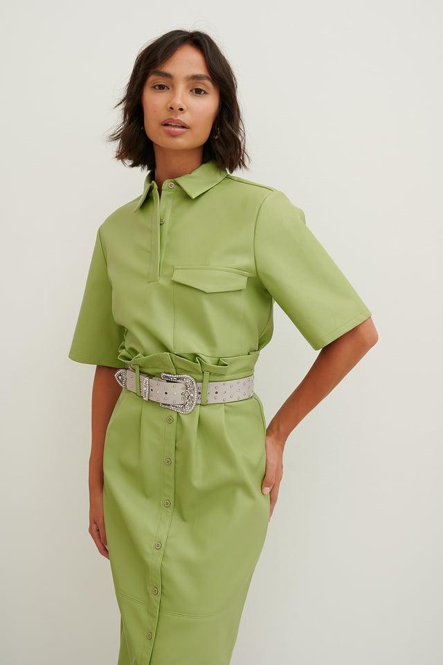 Chemise Boutonnée En Faux Cuir Green