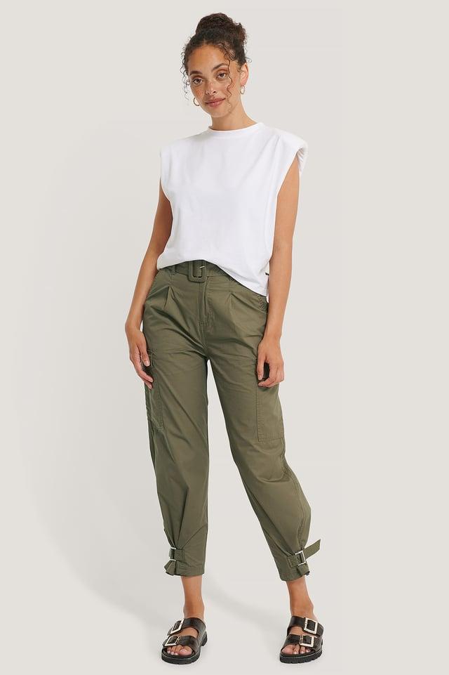 Pantalon Taille Haute À Ceinture Olive