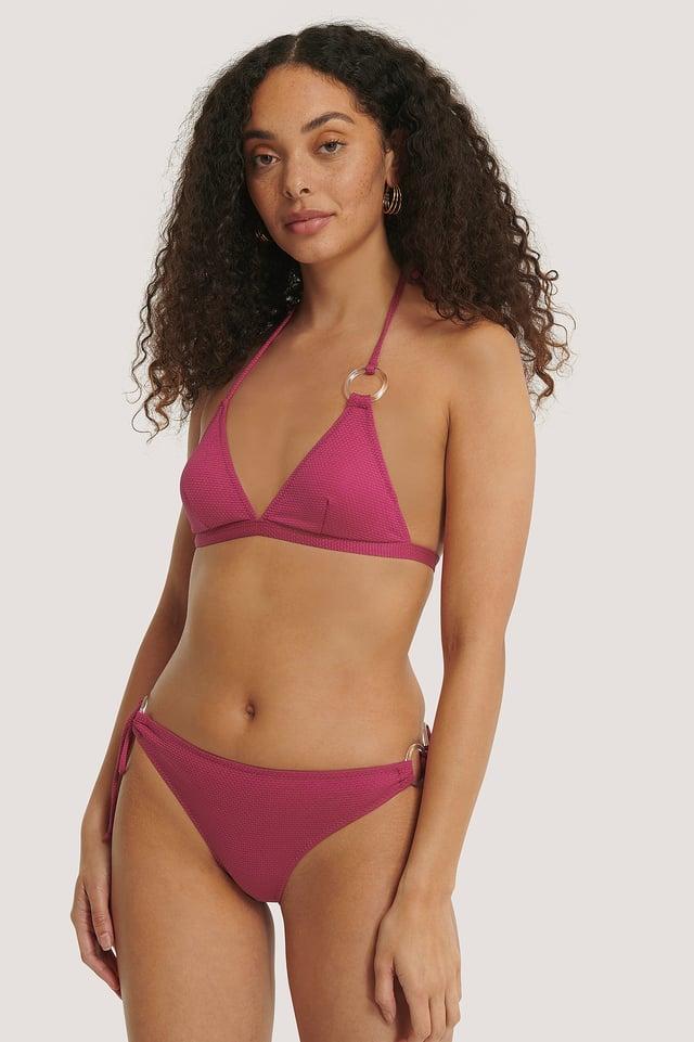Pink Bas De Bikini Orné D'Un Anneau
