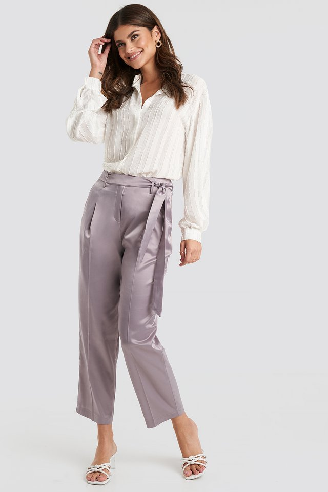 Belt Satin Trousers Lila
