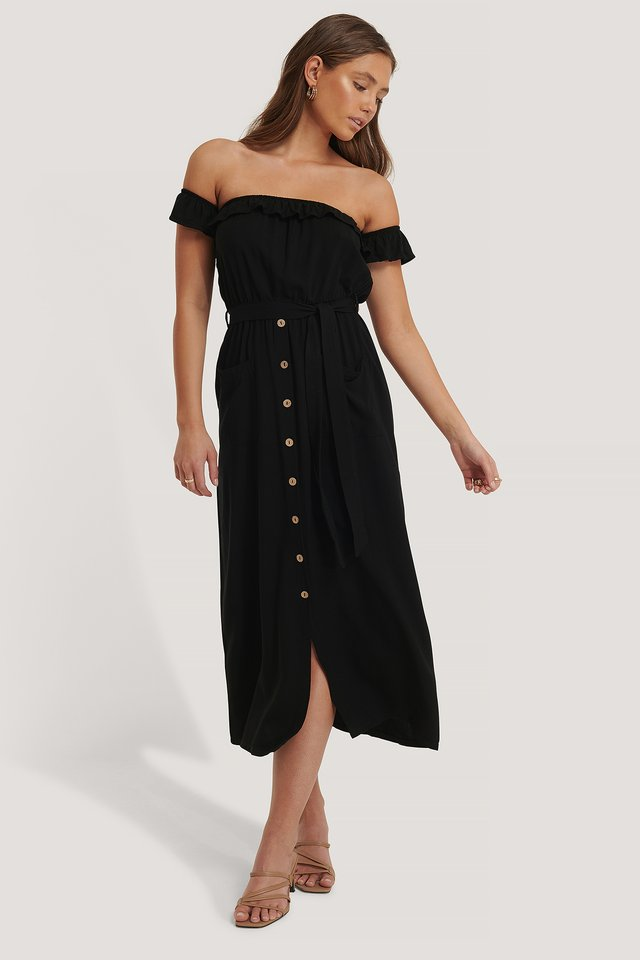 Robe Mi-Longue À Boutons Black