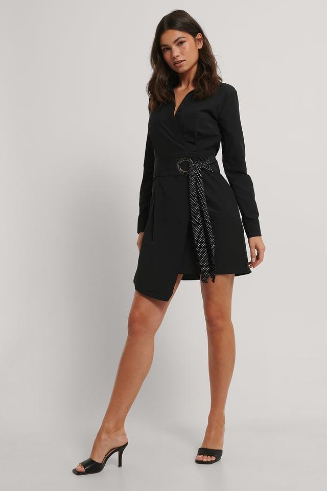 Mini Robe Avec Détails Ceinturée Black