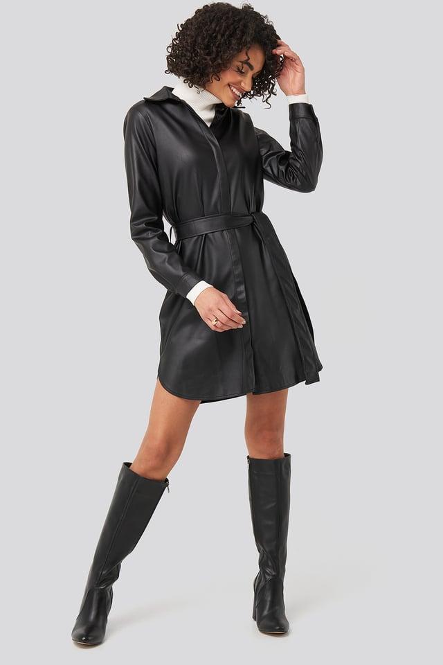 Black PU Mini Dress Black