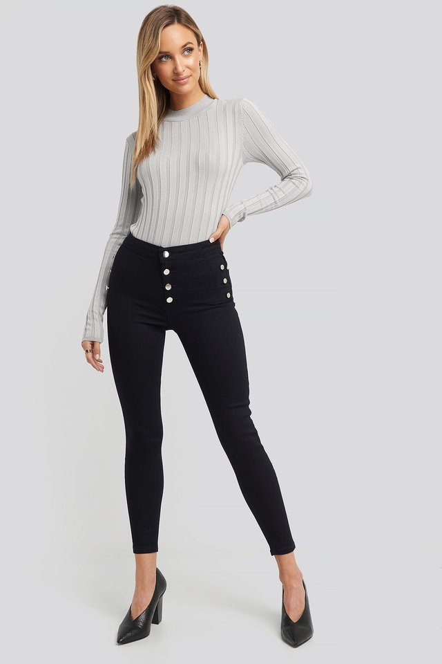 Button Detailed High Waist Skinny Jeans Navy