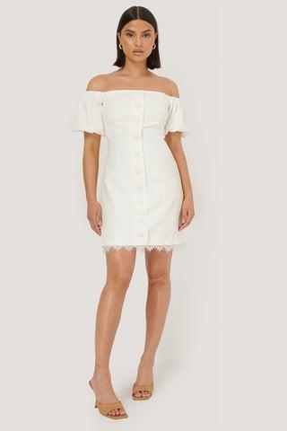 White Robe Mini À Boutons