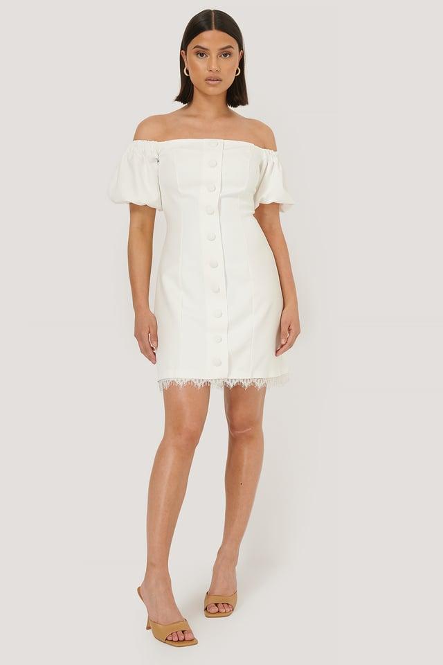 Robe Mini À Boutons White
