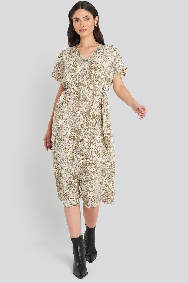 Cream Button Snake Long Dress