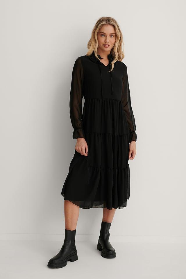 Robe Midi En Mousseline Black
