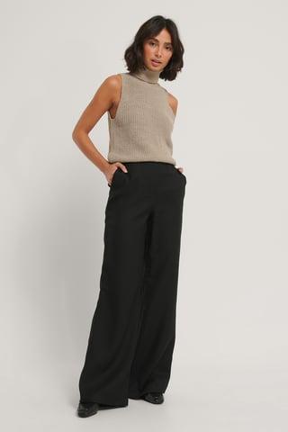Black Pantalon Large