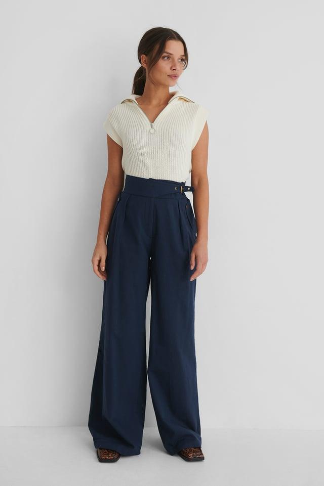 Carmen Wide Trousers Navy