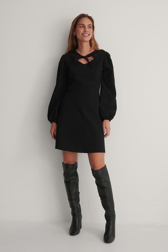 Robe Mini À Col Fantaisie Black