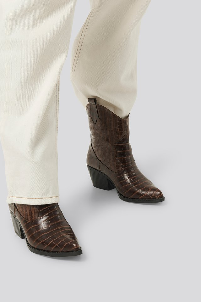 Croco Ankle Boots Brown