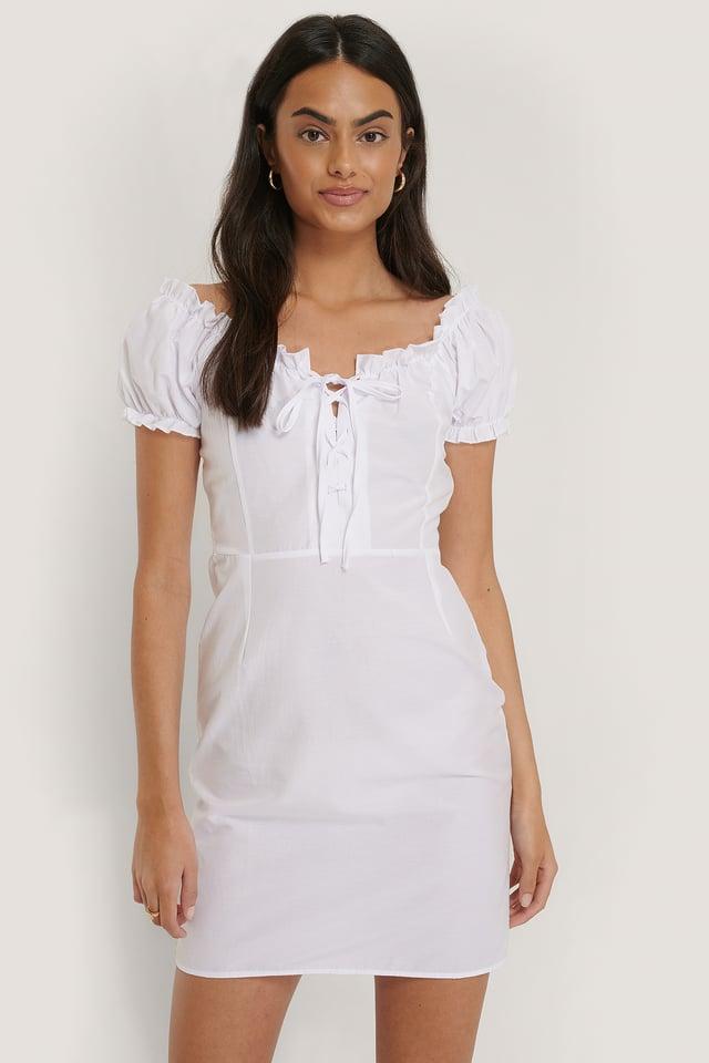 Robe Mini À Manches Bouffantes White