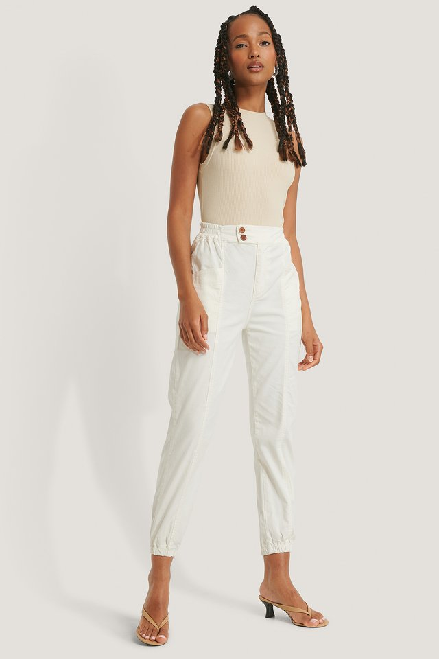Pantalon De Jogging Droit Avec Coutures Avant White