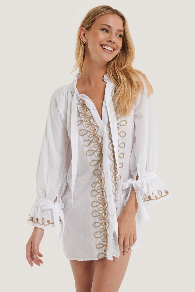 Mini Robe Brodée White