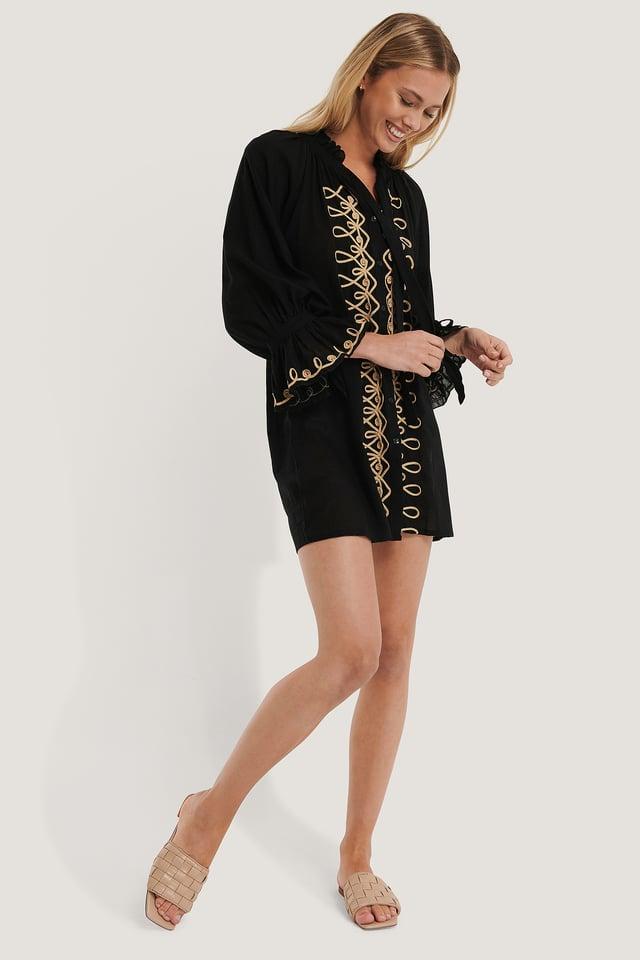 Mini Robe Brodée Black