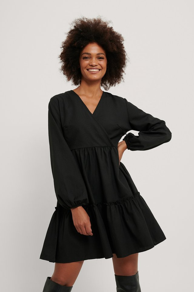 Robe Mini À Fronces Black