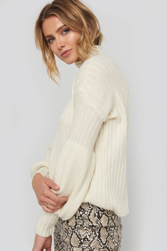 High Neck Volume Cuffs Knitted Sweater Stone
