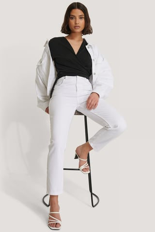White Jean Mom Taille Haute