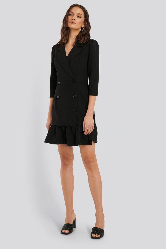 Robe Mini À Boutons Black