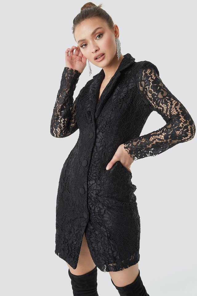 Black Lace Jacket Dress