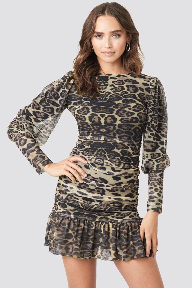 Leopard Drape Detailed Dress Multicolor