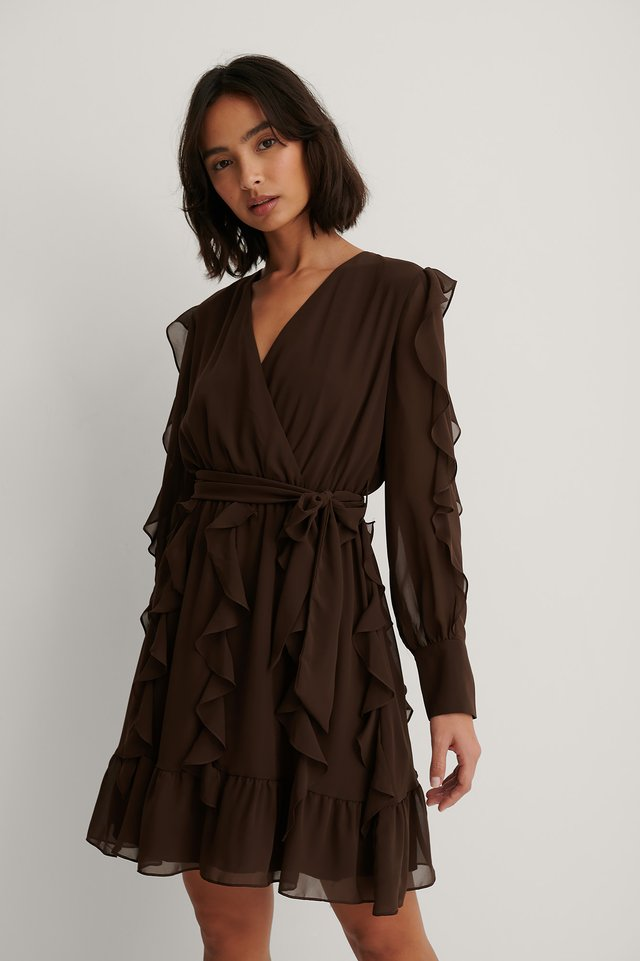 Robe Mini À Volants Brown