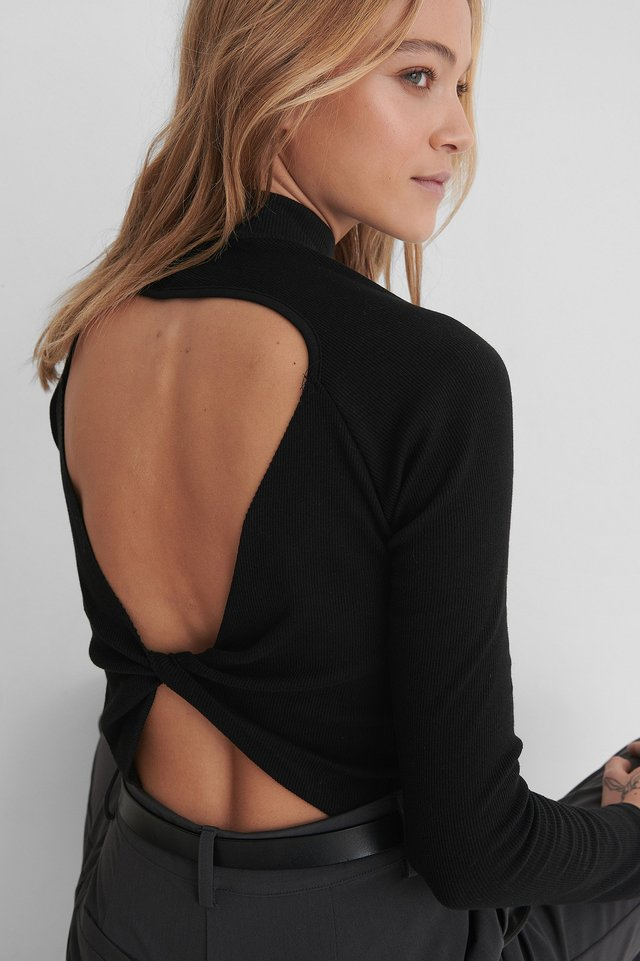 Open Back Detail Top Black