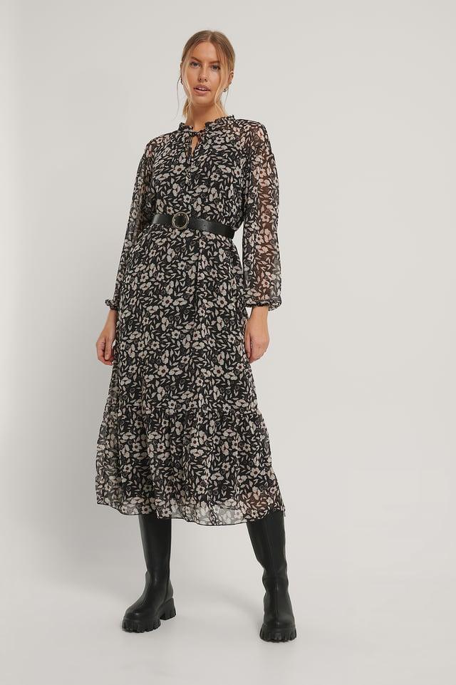 Robe Mi-Longue À Motifs Black