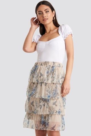 Cream Patterned Midi Skirt