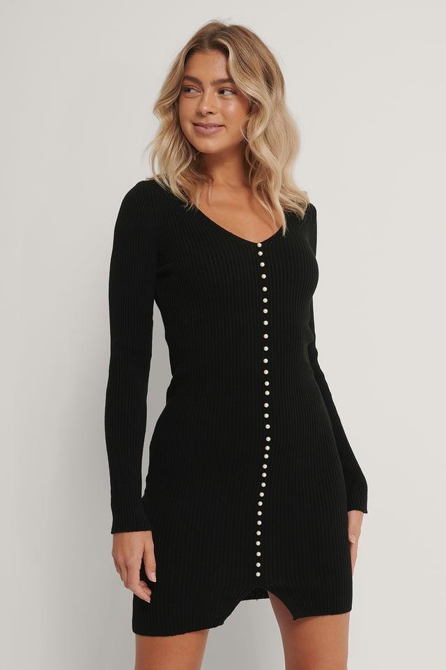 Robe Ornée De Perles Black