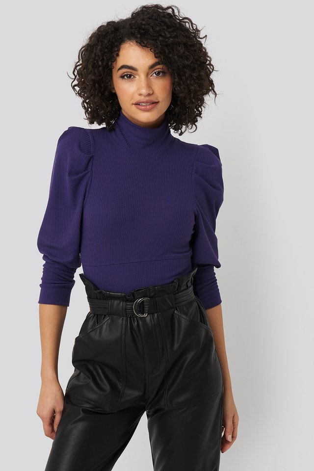 Puff Sleeve Corded Knit Top Purple