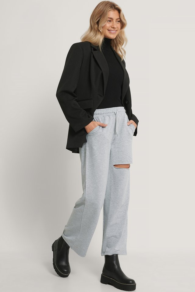 Pantalon De Survêtement Chiné Taille Élastique Gray