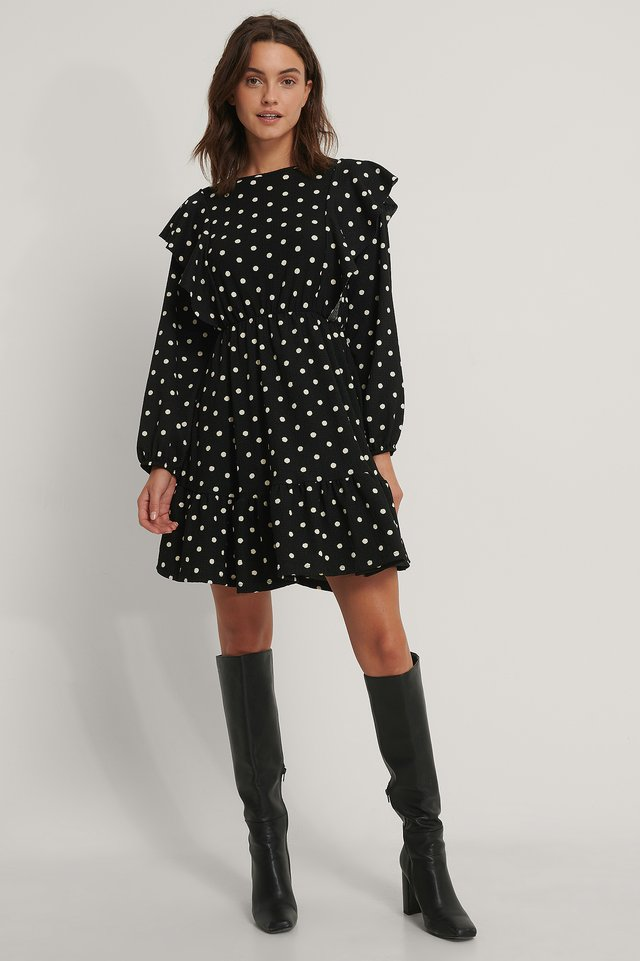 Robe Mini À Volants Black