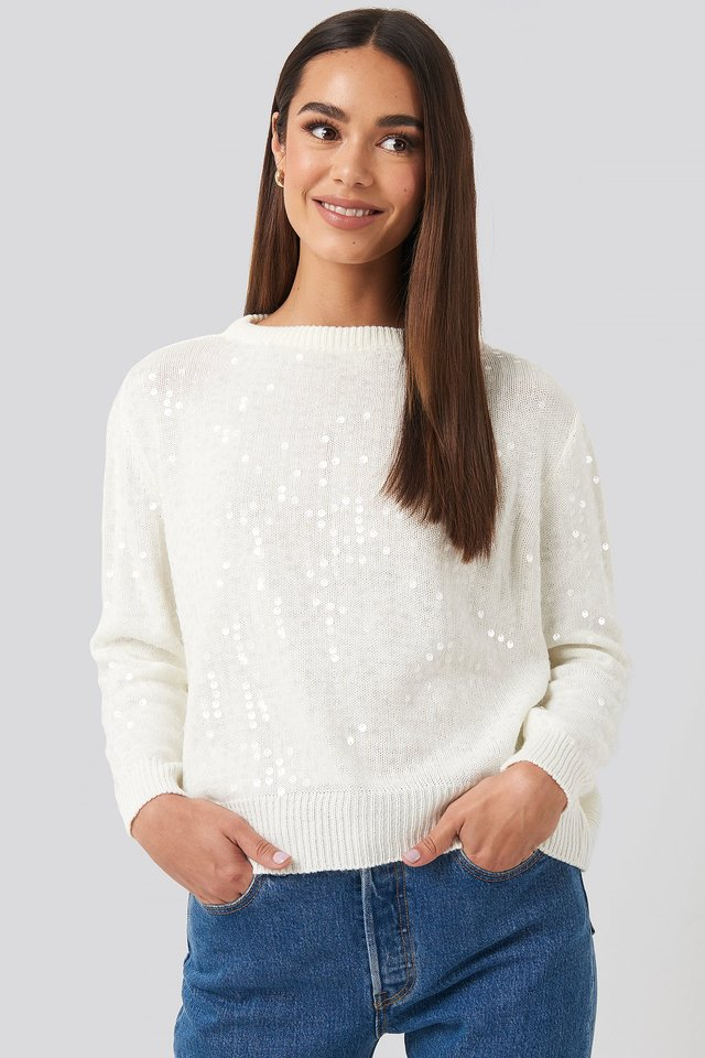 Sequin Sweater Ecru
