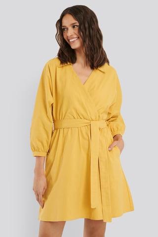 Yellow Robe Chemise À Col Ceinturée