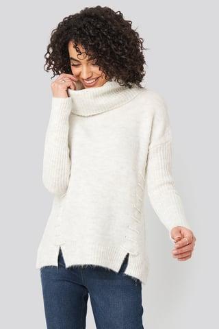 Ecru Side Tied Knitted Sweater