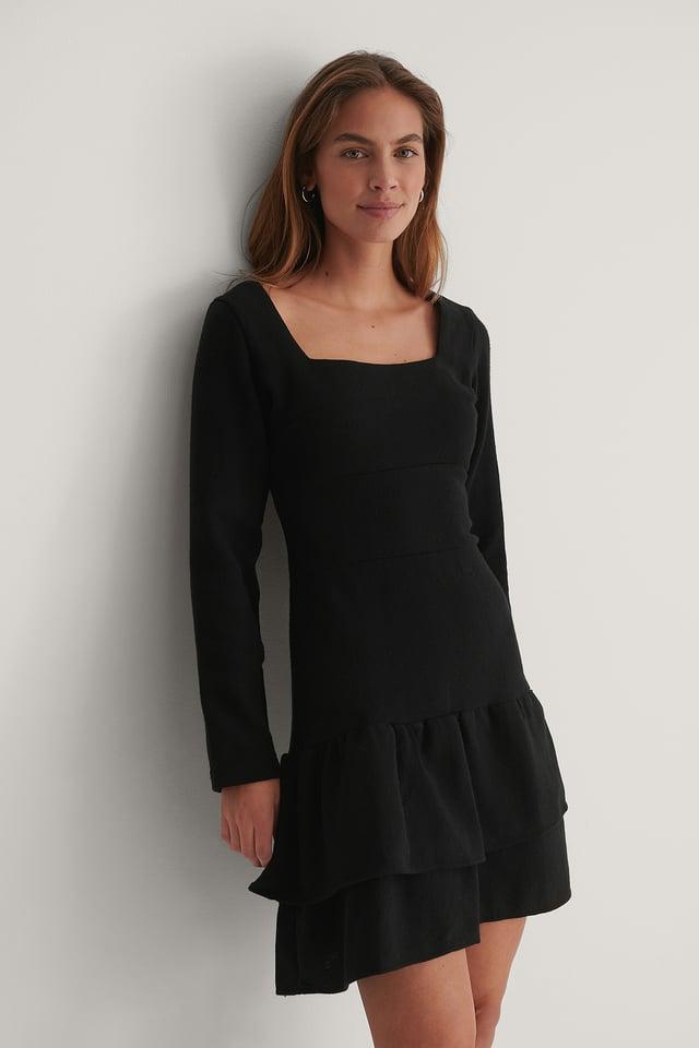 Robe Mini À Col Carré Black