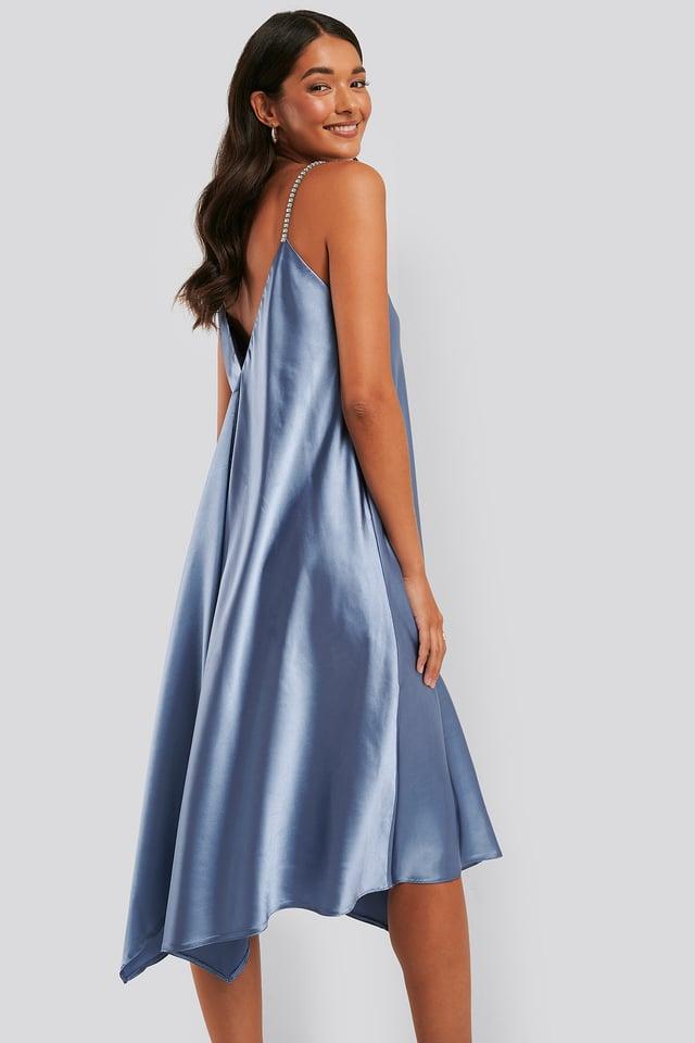 Robe Midi À Bretelles Croisées Blue