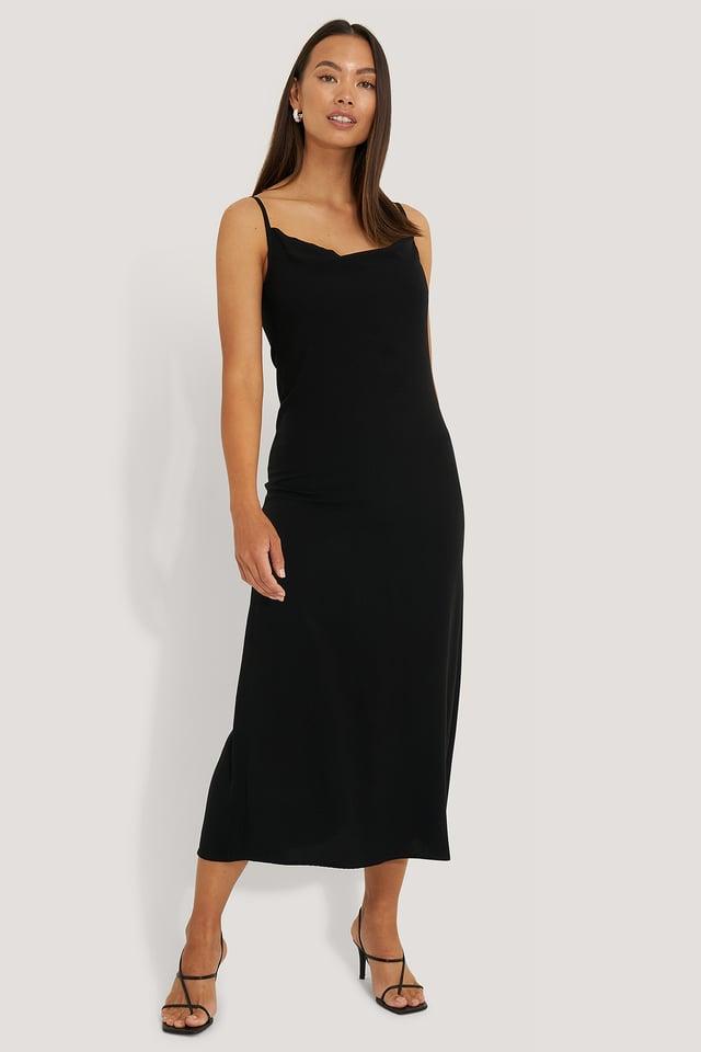 Robe Midi Bretelles Fines Black