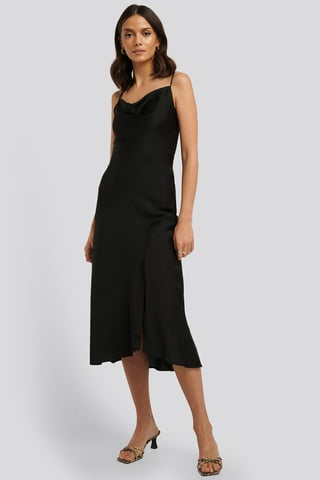 Black Thin Strap Midi Dress